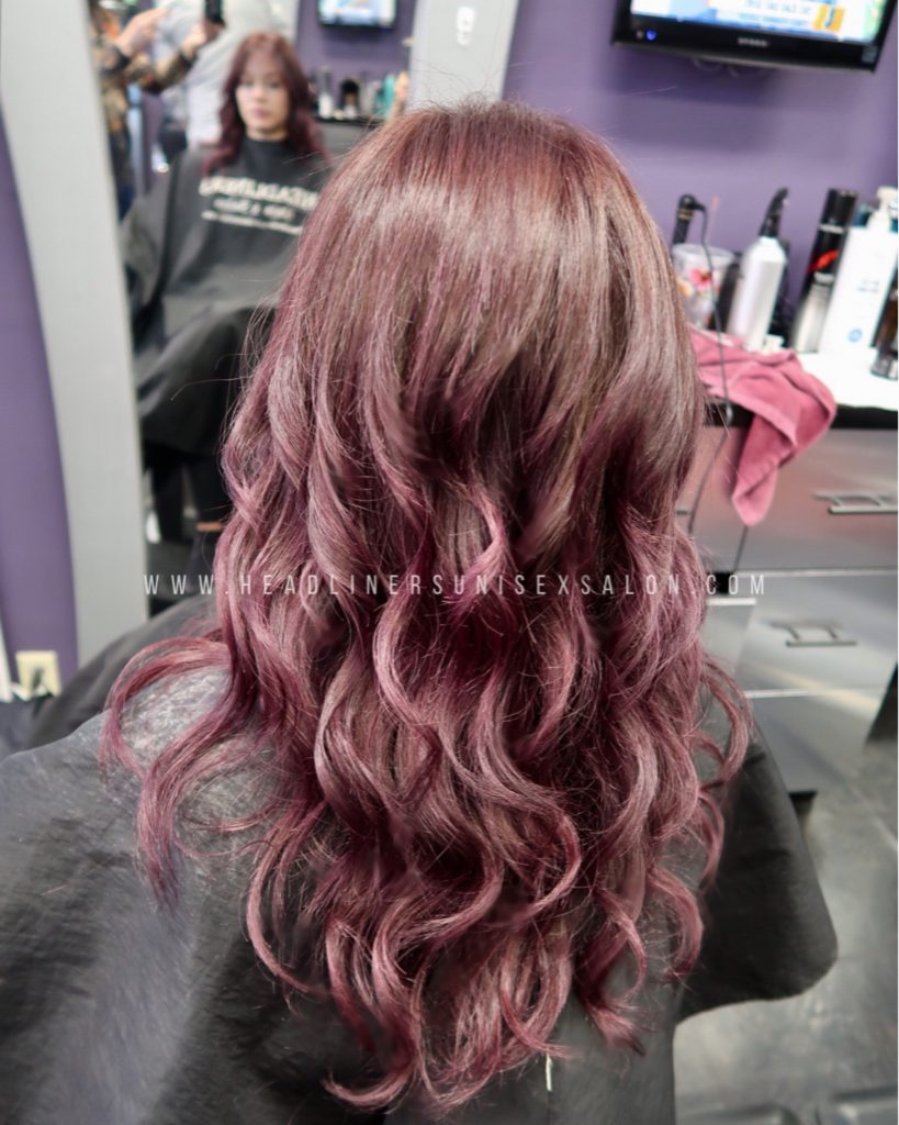 balayage burgundy style color specialists bergenfield bergen county hair color hair dye Tenafly Closter Cresskill haircut blowdry